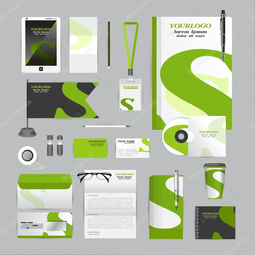 White corporate identity template with Orange origami elements ...
