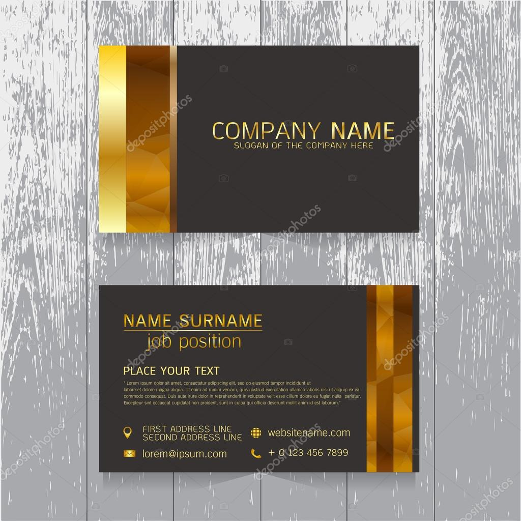 vector Creative leaf business card gold and black design of text ...