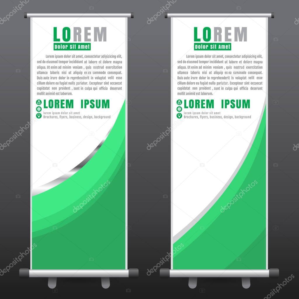 Green roll up business brochure flyer banner design vertical template - Roll Up Business Brochure Flyer Banner Design Vertical Template Stock Vector 129907364
