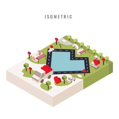 isometric. icon. Valentine. Heart. park. public park, vector sym