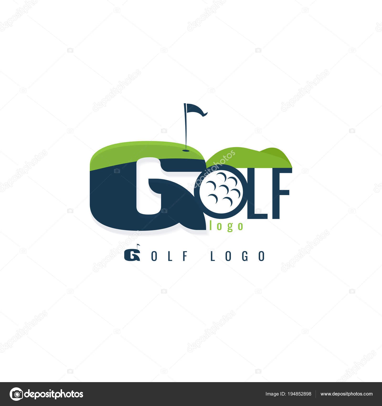 Plantilla de logotipo de golf. Diseño de paisaje. Vector. sobre ...