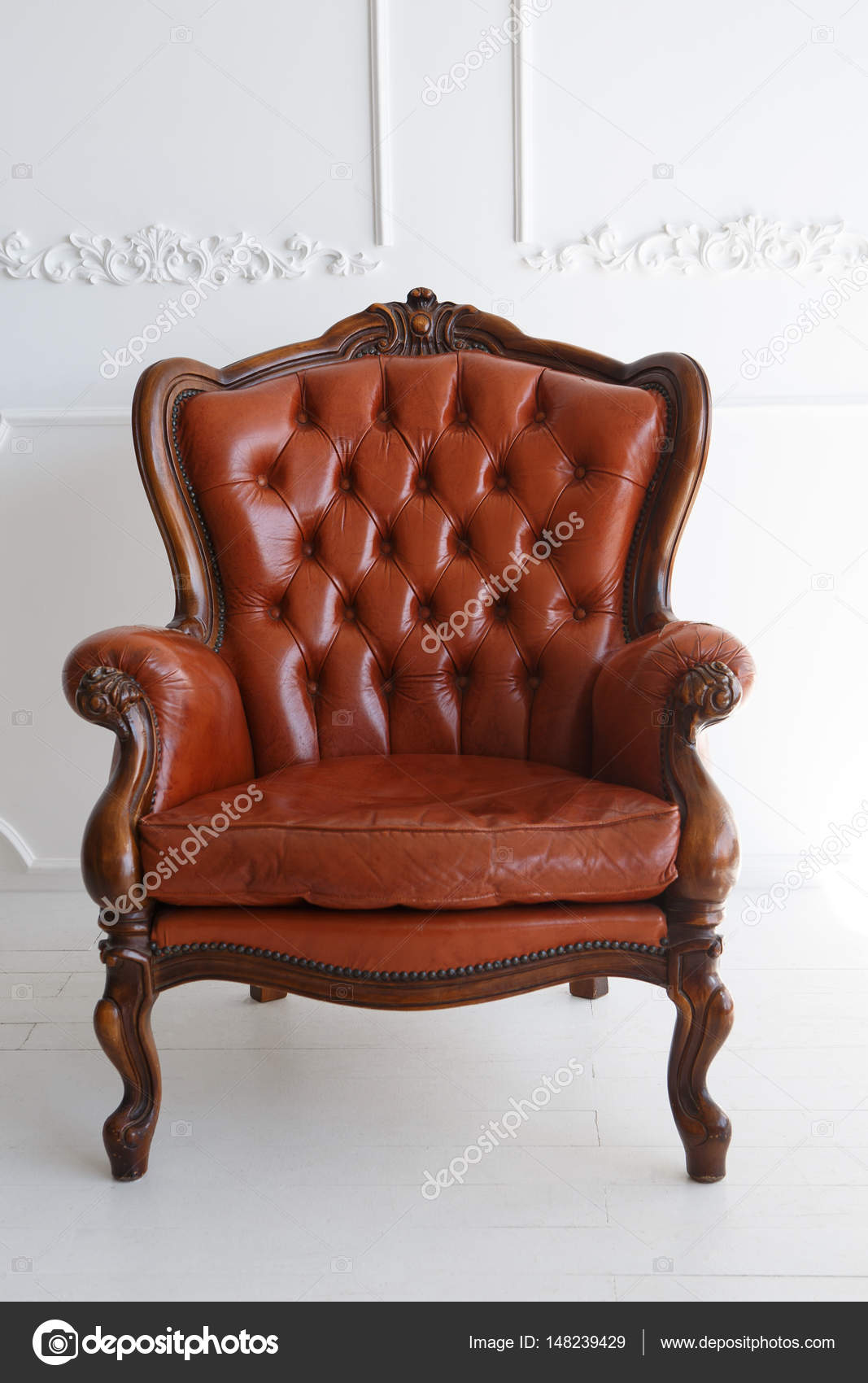 Vintage Leather Luxury Brown Armchair Classic Brown