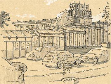 Urban sketch of a city street