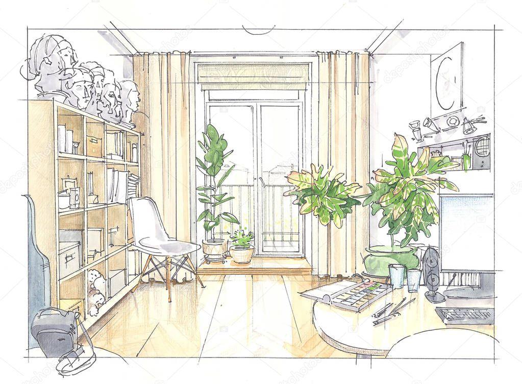 Acquerello disegno di una stanza foto stock skmp for Disegno stanza