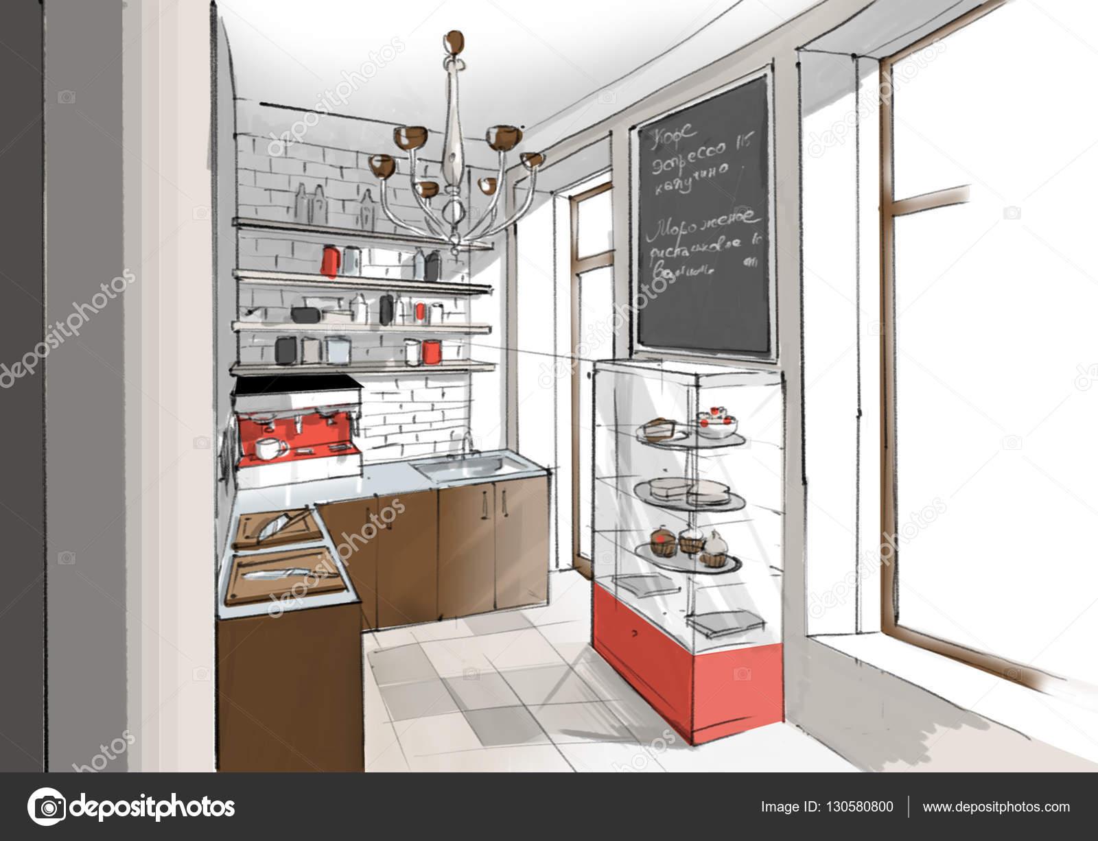Innenraum des Café Küche — Stockfoto © skmp #130580800