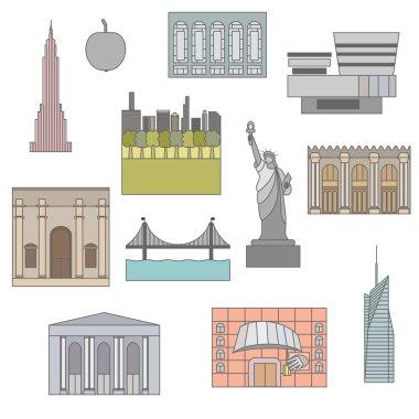 Set of New York. icon, symbol, emblem