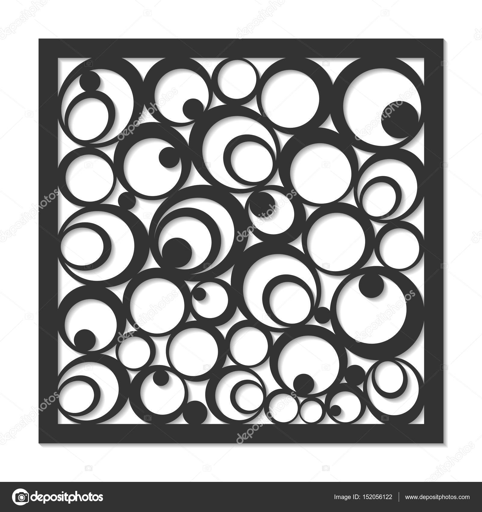 Geometric Ornament Template Card For Laser Cutting Decorative Design Element Circular Pattern