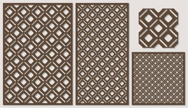 Set of decorative panels laser cutting.
