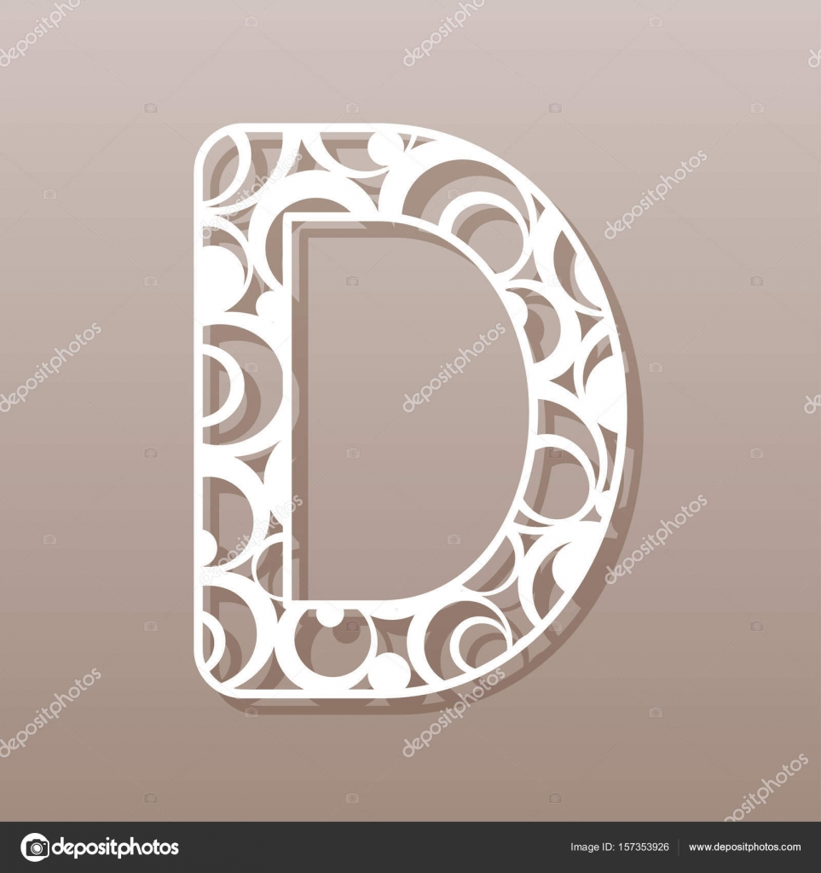 Letter D For Laser Cutting English Alphabet Vector Illustration