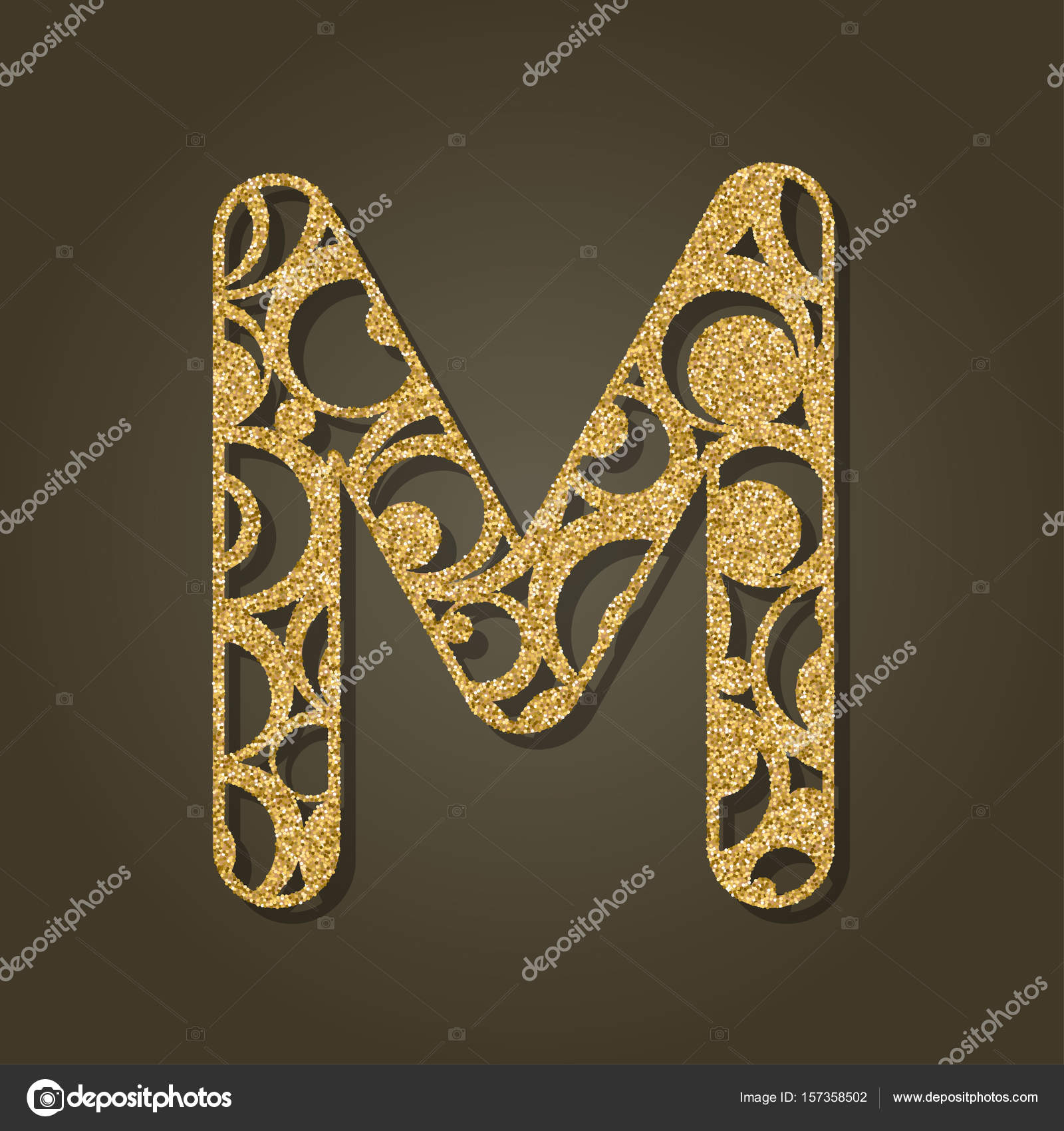 Gold Letter M For Laser Cutting English Alphabet Vector