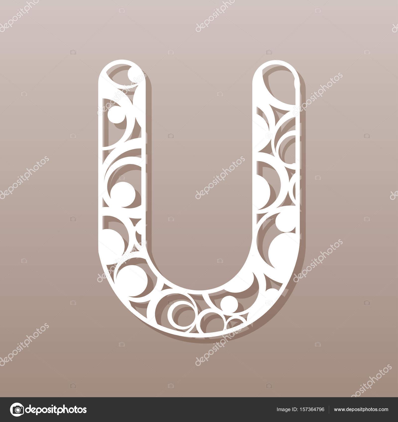 Letter U For Laser Cutting English Alphabet Vector Illustration