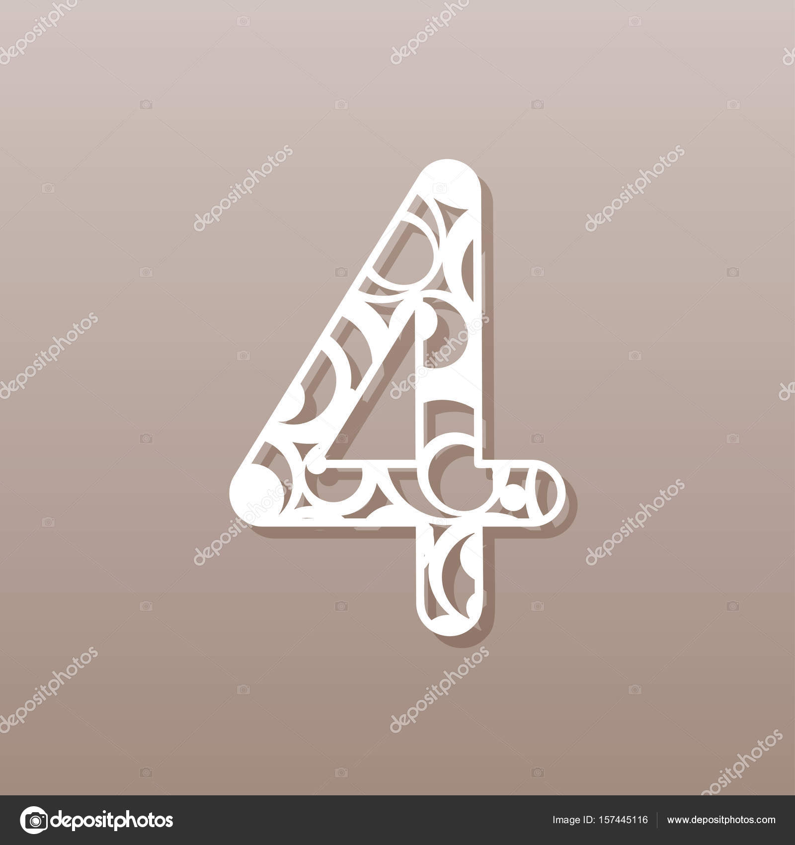 Number Four For Laser Cuttinga Round Pattern Vector Illustration