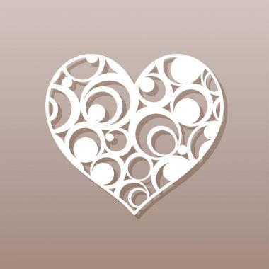 Heart for laser cutting.A round pattern. Vector illustration.