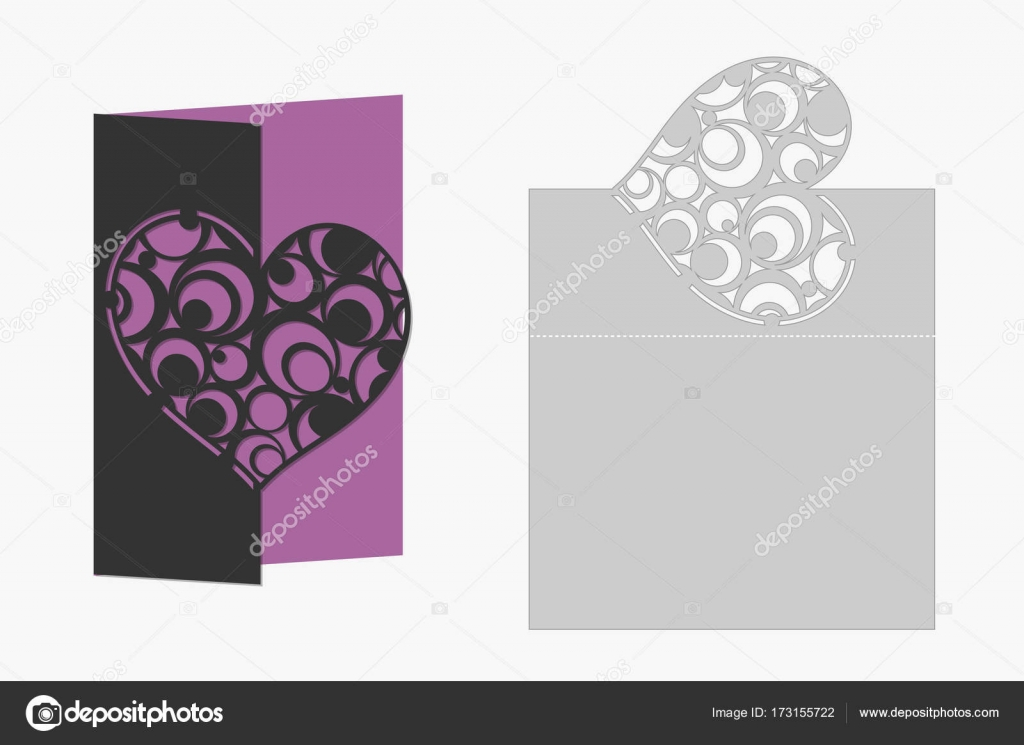 card with heart circle geometric pattern laser cutting silhouette