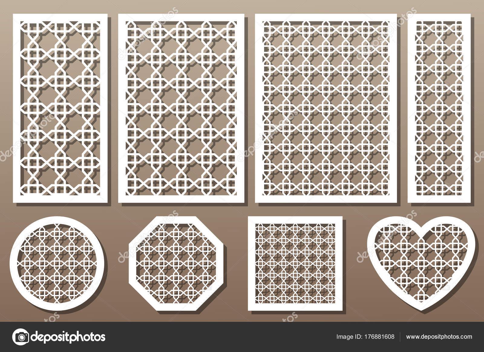 Conjunto de elementos decorativos para corte por láser. Patrón de ...