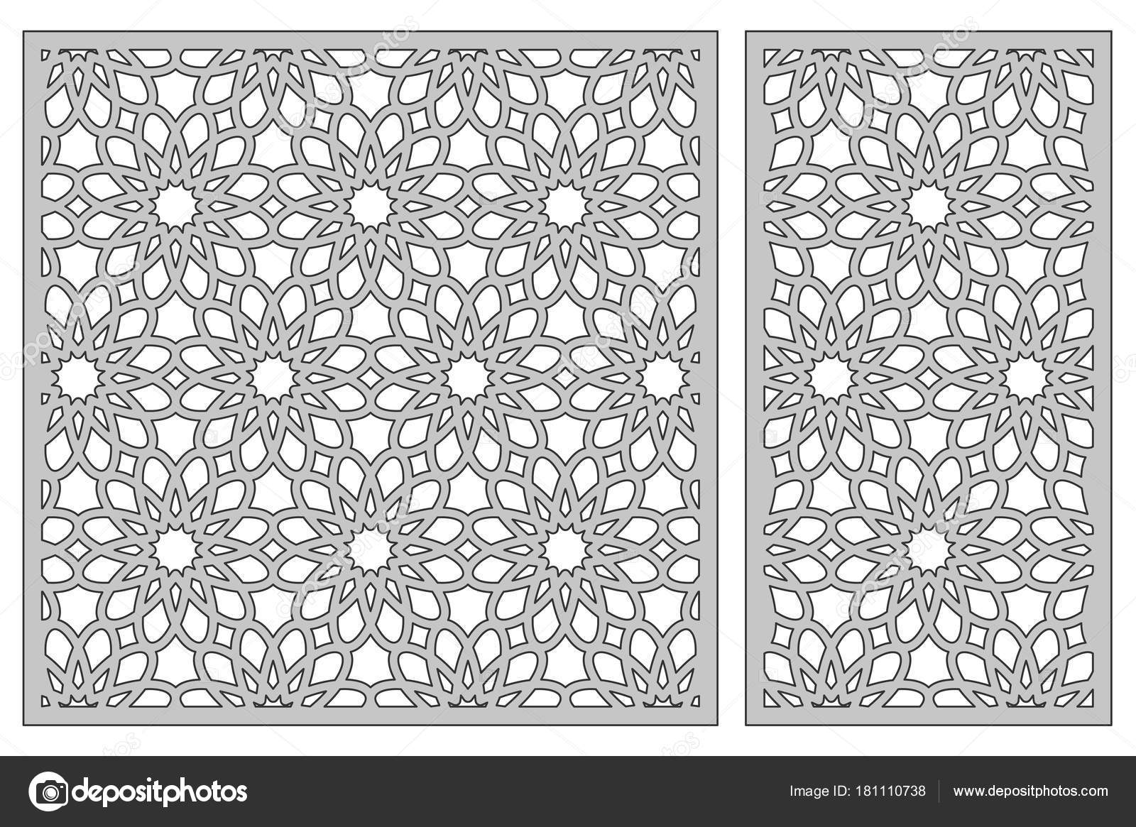 Template for cutting. Geometric flower pattern. Laser cut. Set ratio ...