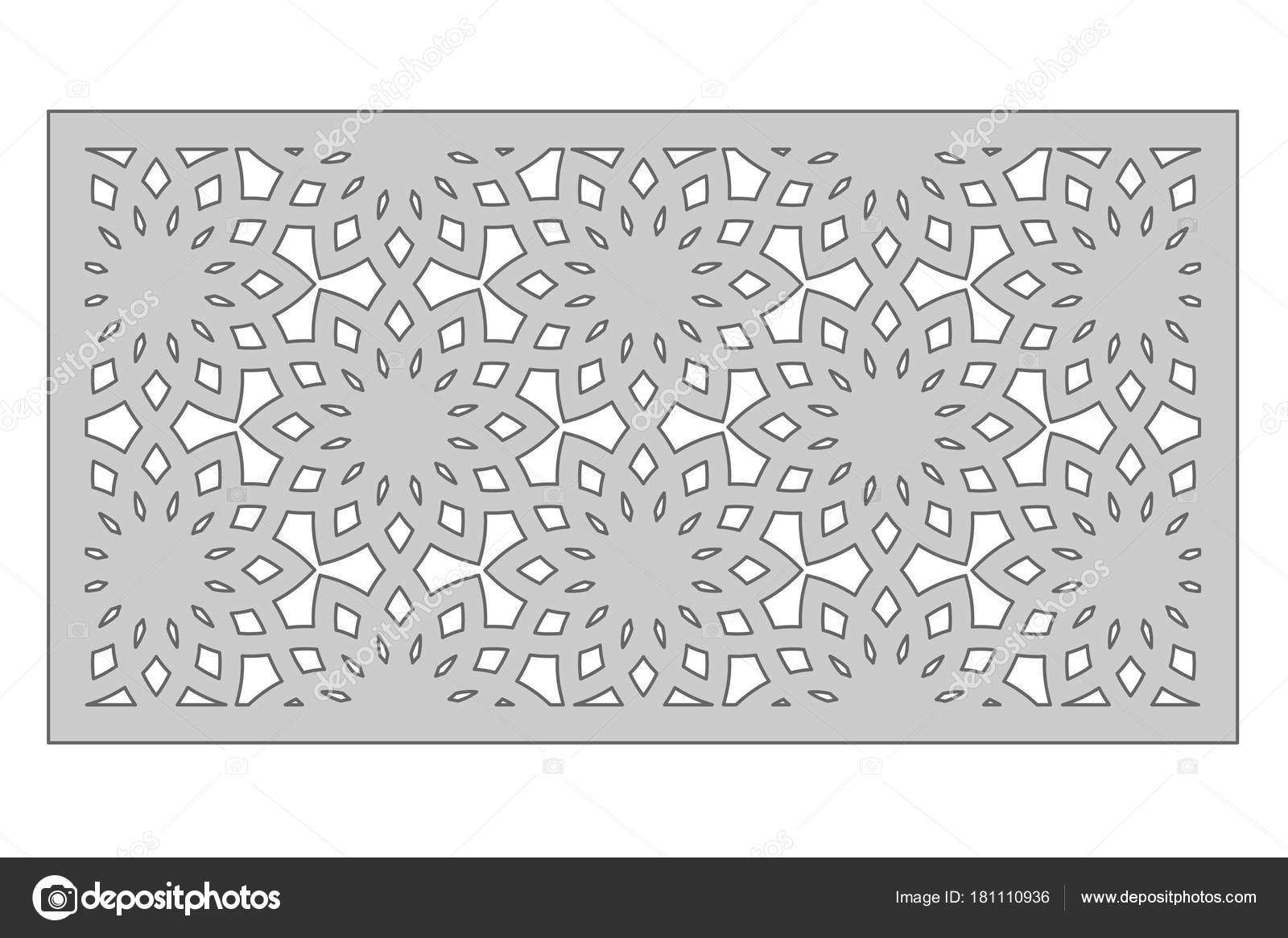Template for cutting. Geometric flower pattern. Laser cut. Ratio 1:2 ...