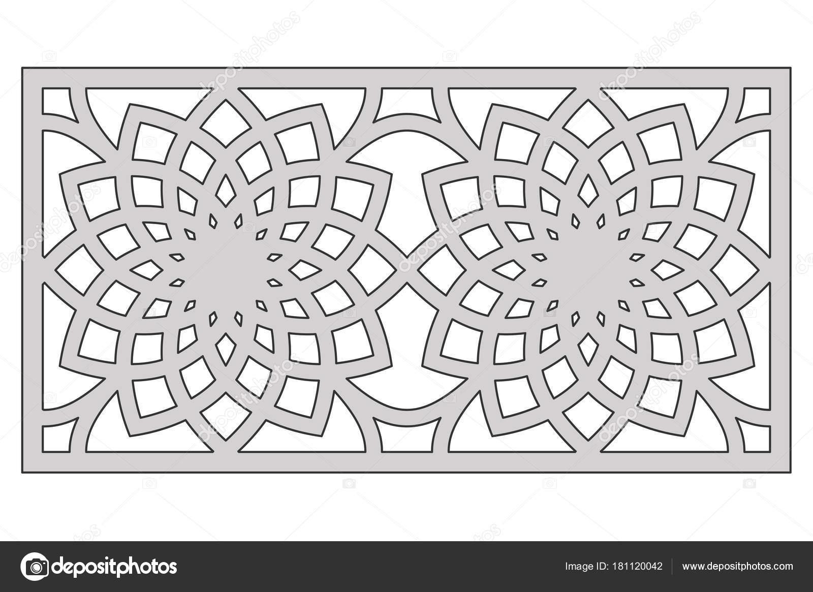 Plantilla para el corte. Patrón de flor geométrica. Corte del laser ...