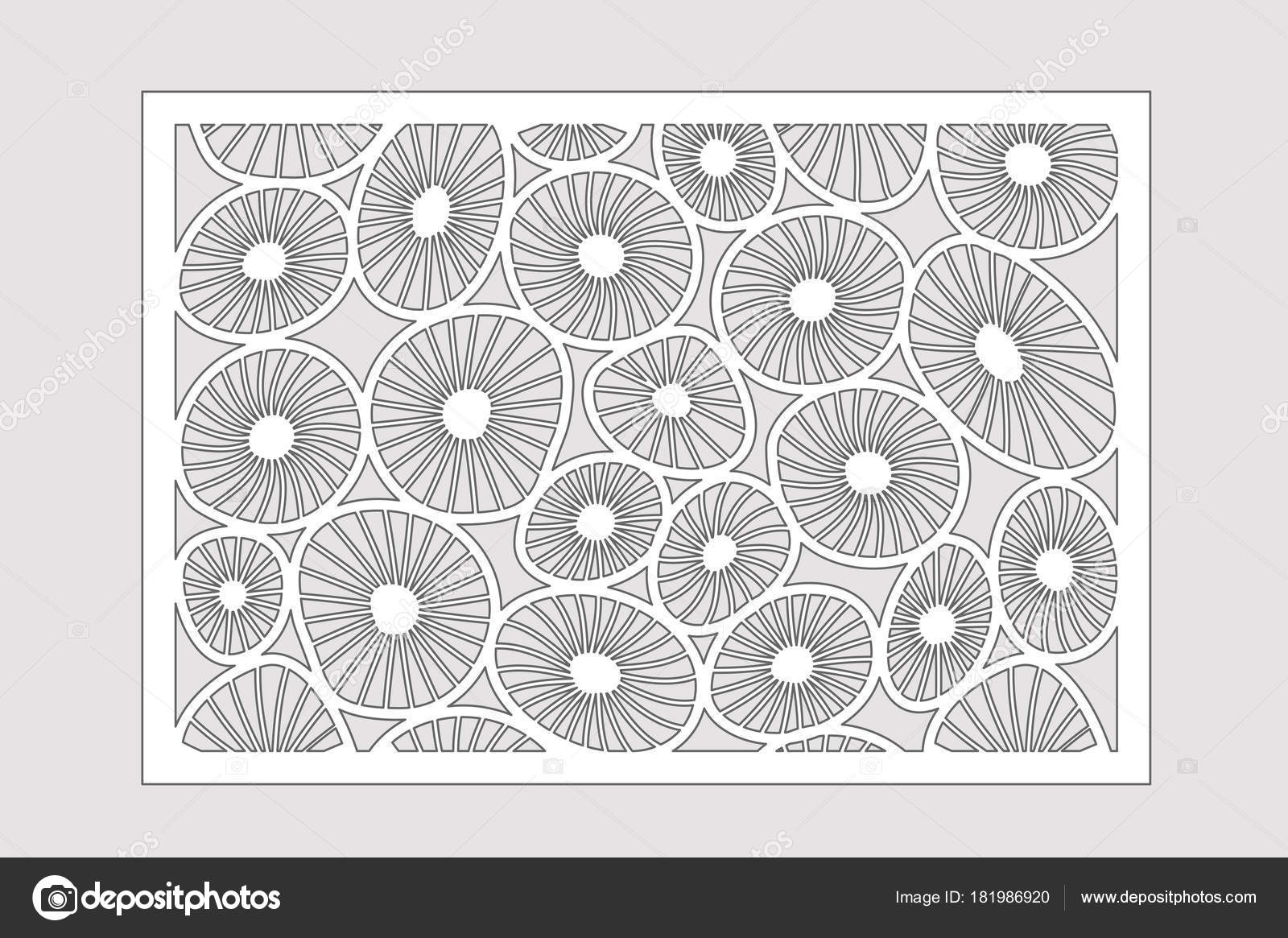 Template for cutting. Round art pattern. Laser cut. Set ratio 2:3 ...