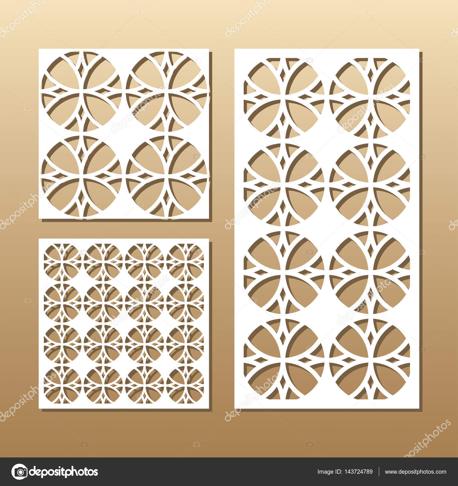 Die Cut Card Laser Vector Panel Cutout Silhouette With Geometric Pattern A Picture Suitable For Printing Engraving Cutting Paper Wood