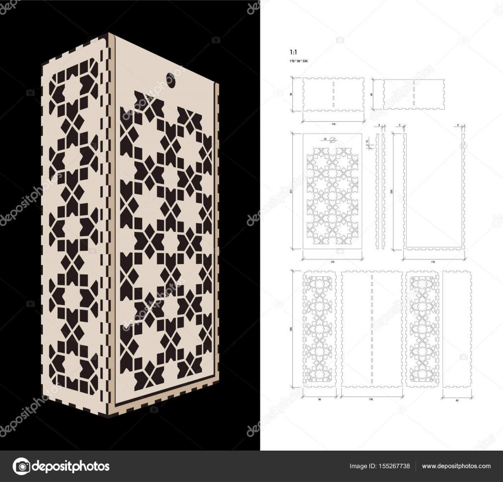 Schneiden Sie die Vorlage für Wein-Box — Stockvektor © midonova ...