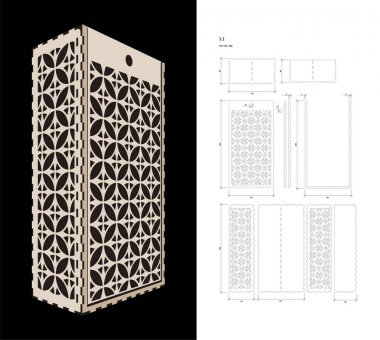 Cut out template for Wine Box
