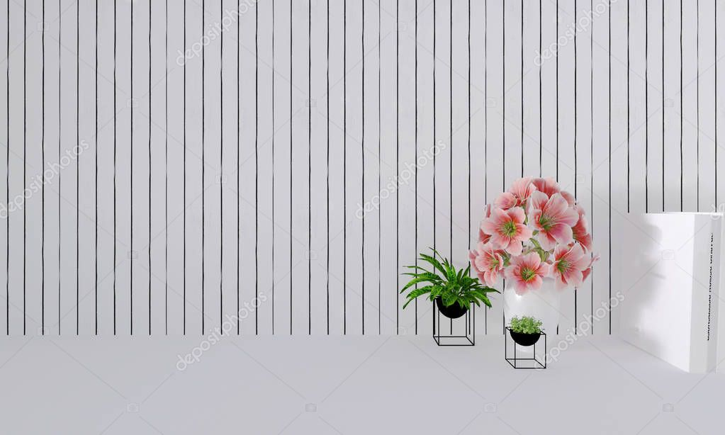 Pink Flowers In Vase On Table Decor Interior With White Wooden Wall