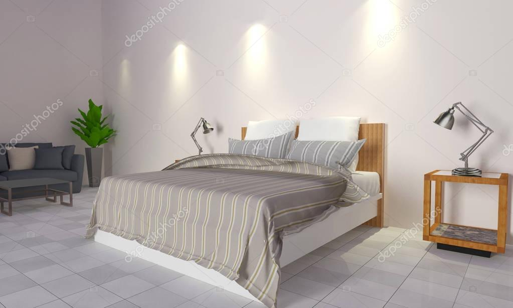 Soppalco Stanza Da Letto : Moderno e soppalco camera da letto interior 3d rendering u2014 foto