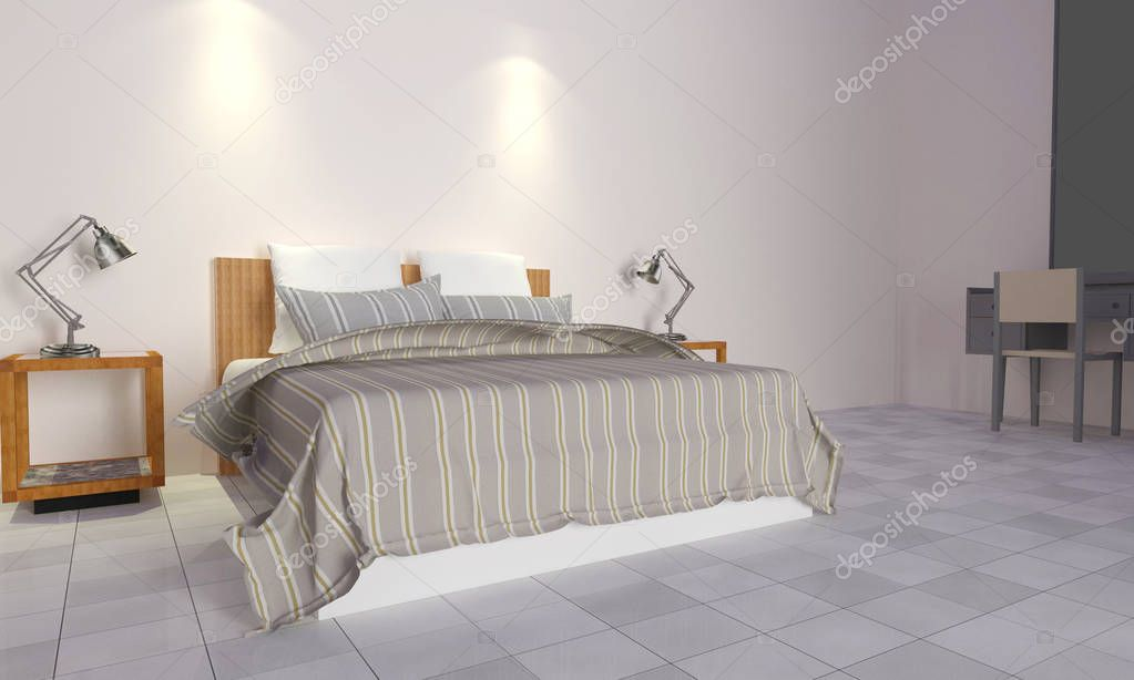 Soppalco Camera Da Letto Moderno : Moderno e soppalco camera da letto interior d rendering u foto