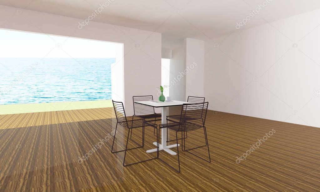 Moderno tavolo e sedie in soggiorno UFT vacanze ed estate-3d ...