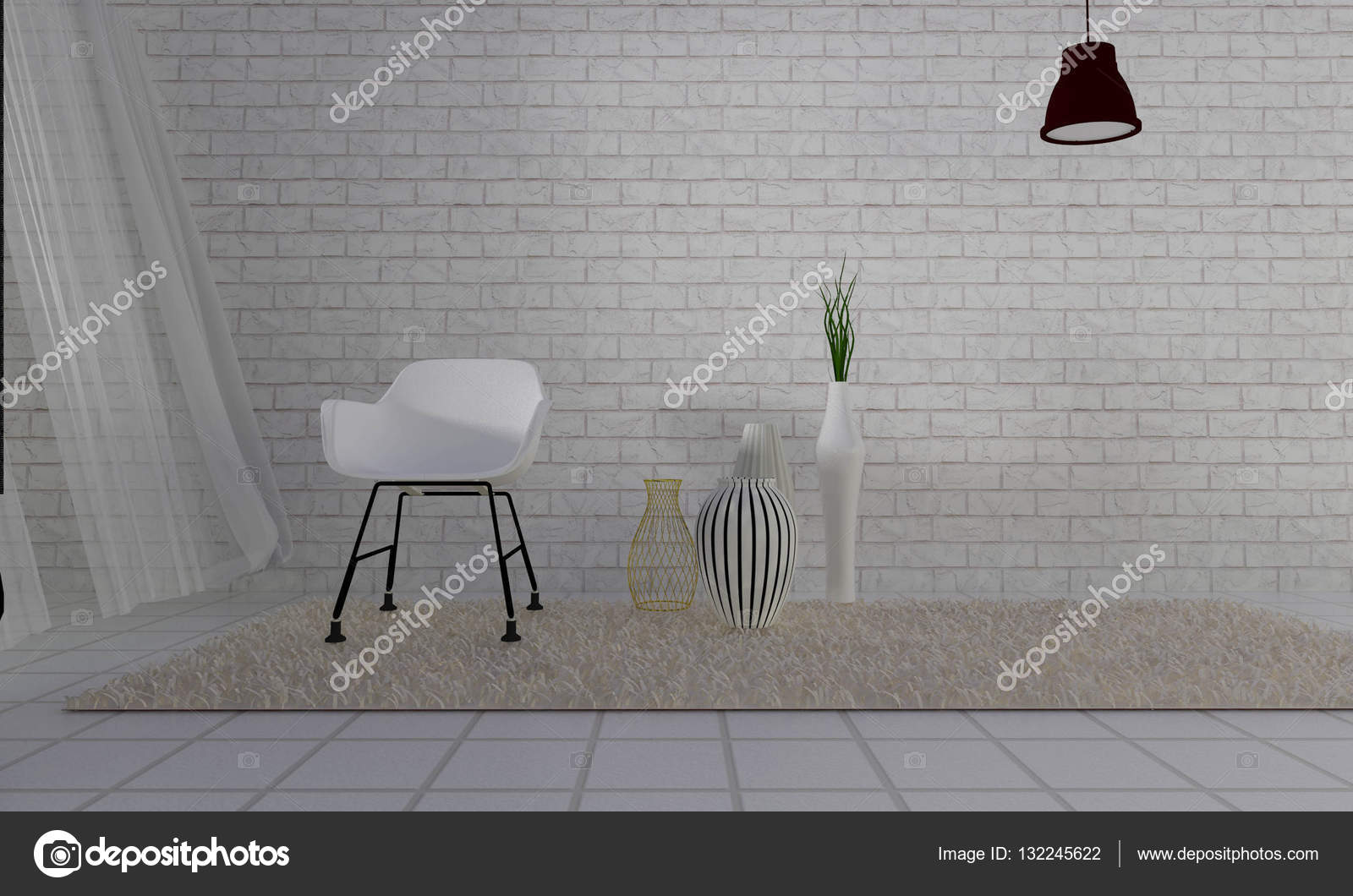 Loft und einfachen Wohnzimmer mit Sessel und Wand Hintergrund-3d-re ...