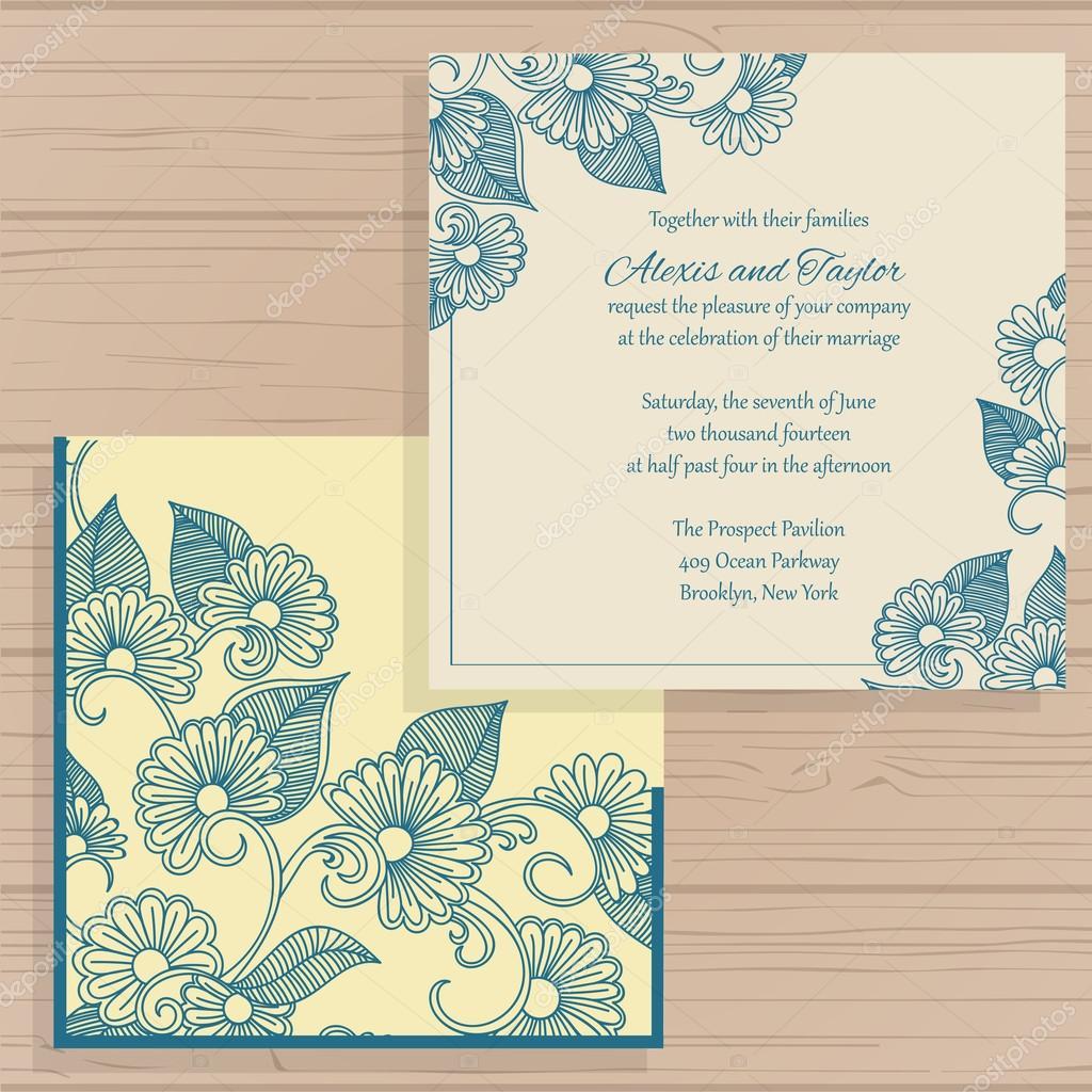 Lasercut Vektor Hochzeit Einladung Vorlage. Hochzeit Einladung Umschlag Mit  Blumen Für Das Laserschneiden. Spitze