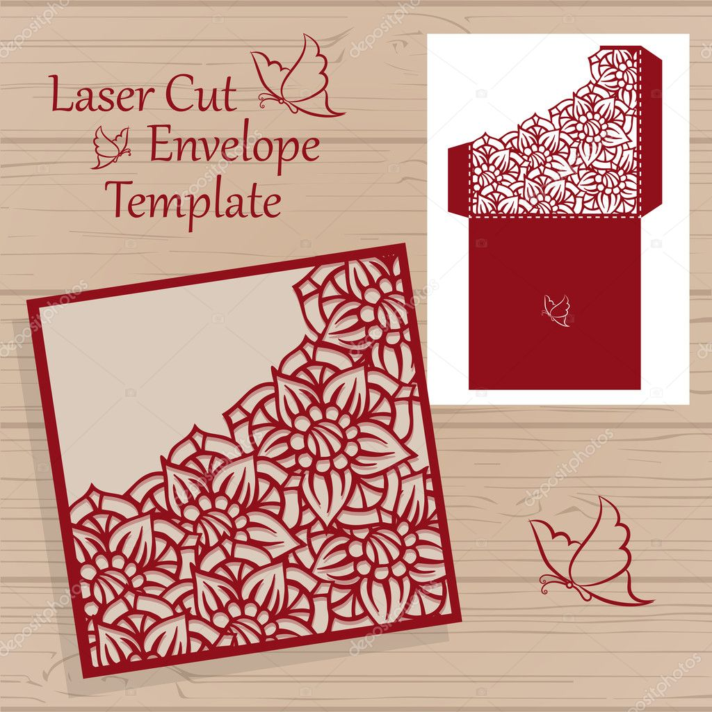 Lasercut vector wedding invitation template. Wedding invitation ...