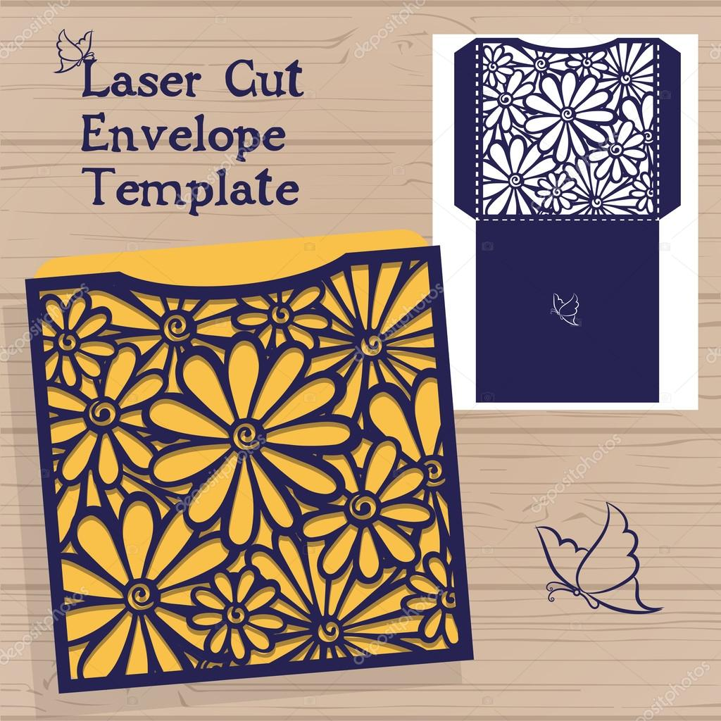 Lasercut vector wedding invitation template wedding invitation lasercut vector wedding invitation template wedding invitation envelope with flowers for laser cutting lace stopboris Image collections