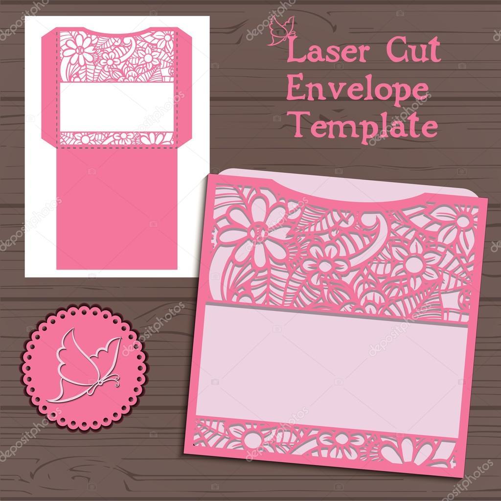 Lasercut Vektor Hochzeit Einladung Vorlage. Hochzeit Einladung ...