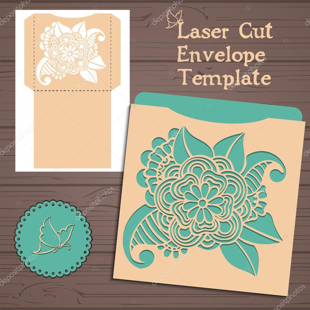 Lasercut vector wedding invitation template wedding invitation lasercut vector wedding invitation template wedding invitation envelope with flowers for laser cutting lace stopboris Gallery