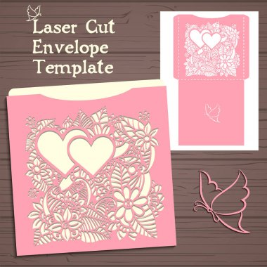 Lasercut vector wedding invitation template. Wedding invitation envelope with flowers for laser cutting. Lace gate folds.Laser cut vector
