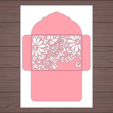 g invitation template. Wedding invitation envelope with flowers for laser cutting. Lace gate folds.Laser cut vector
