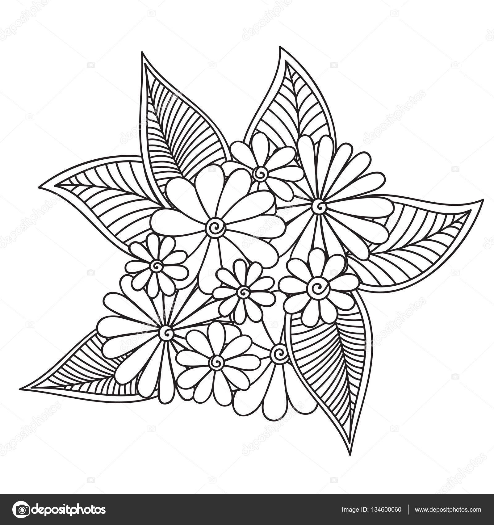 Flores Abstractas Zentangle Flor De Doodle Ilustracion De Vector