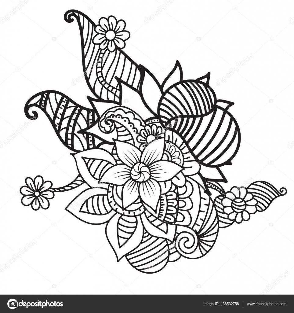 Reticolo astratto con ornamento floreale in stile zentangle \u2014 Vettoriali di