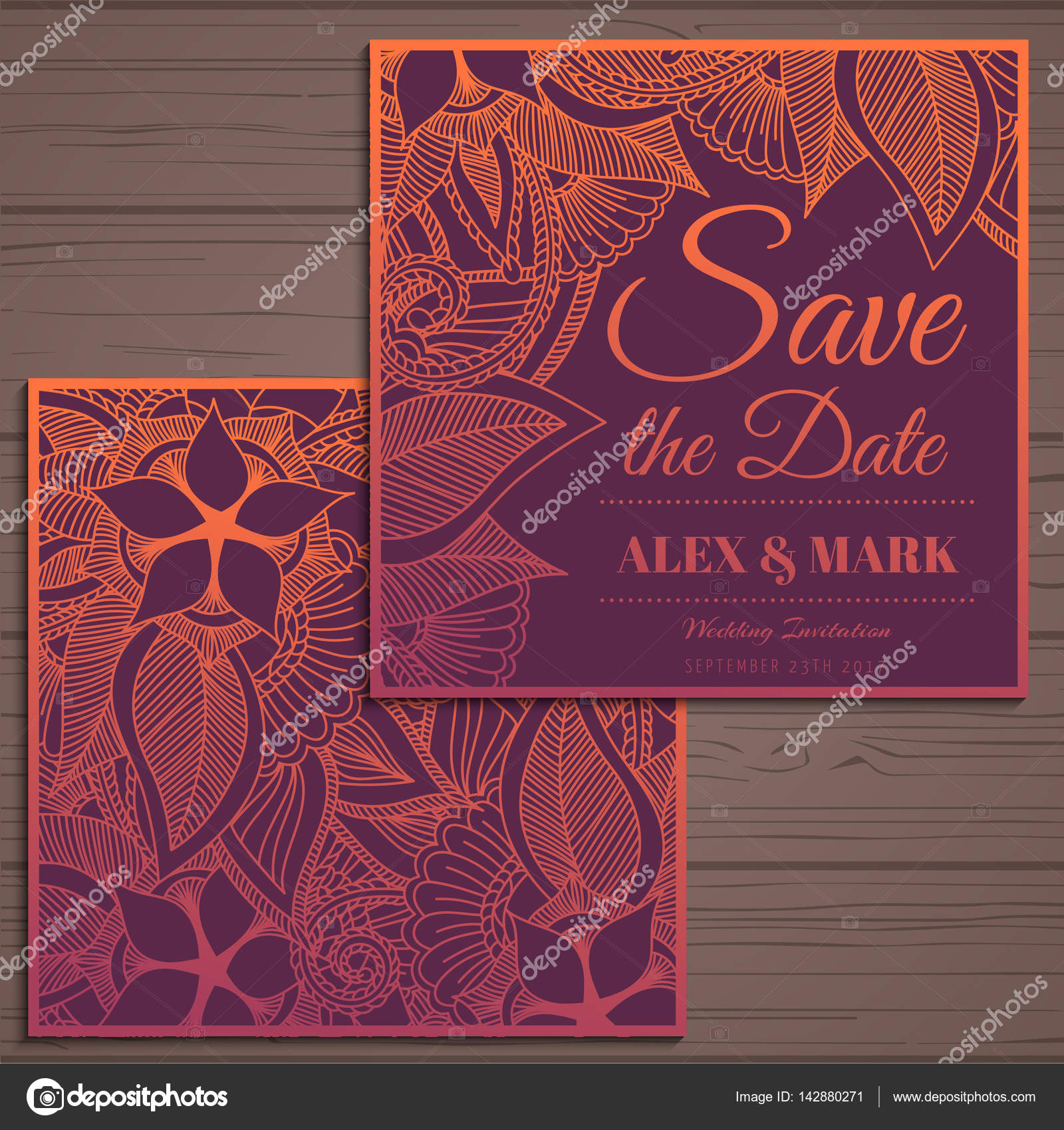 Wedding invitation card suite with flower Templates.Vector ...