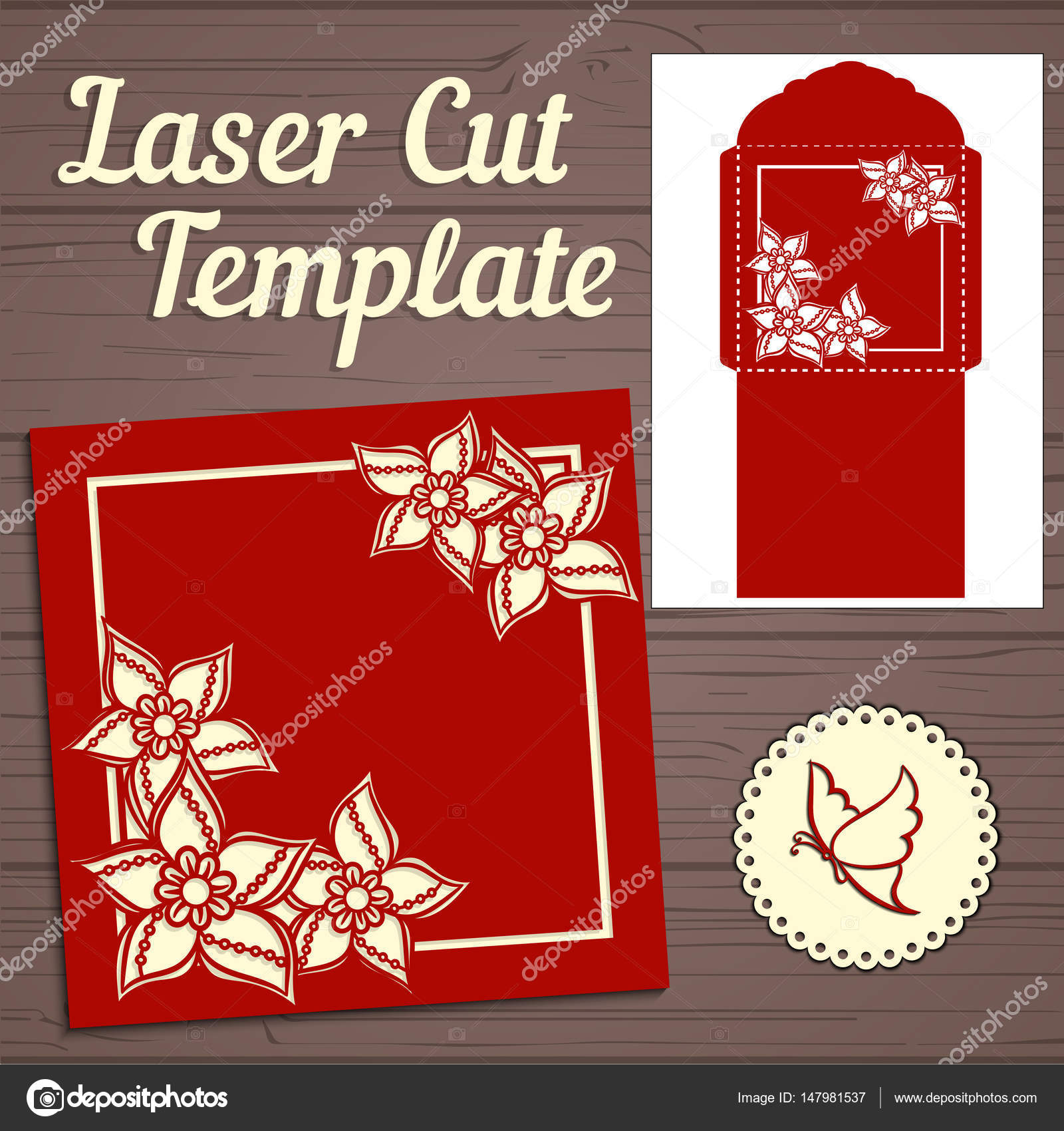 Wedding invitation envelope with flowers for laser cutting. Lace ...