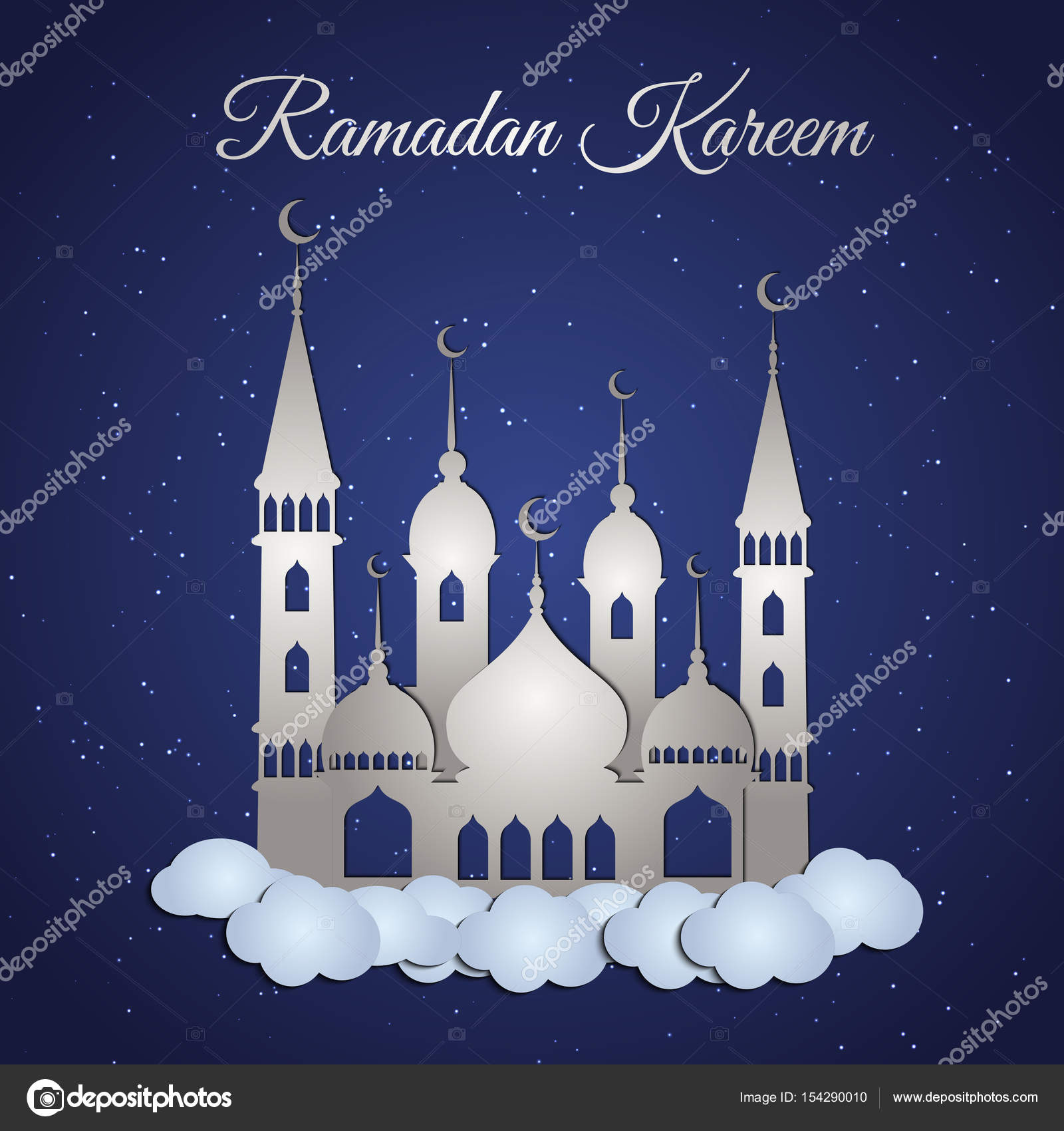 Ramadan Kareem Greeting With Mosque Stock Vector Doodleflower