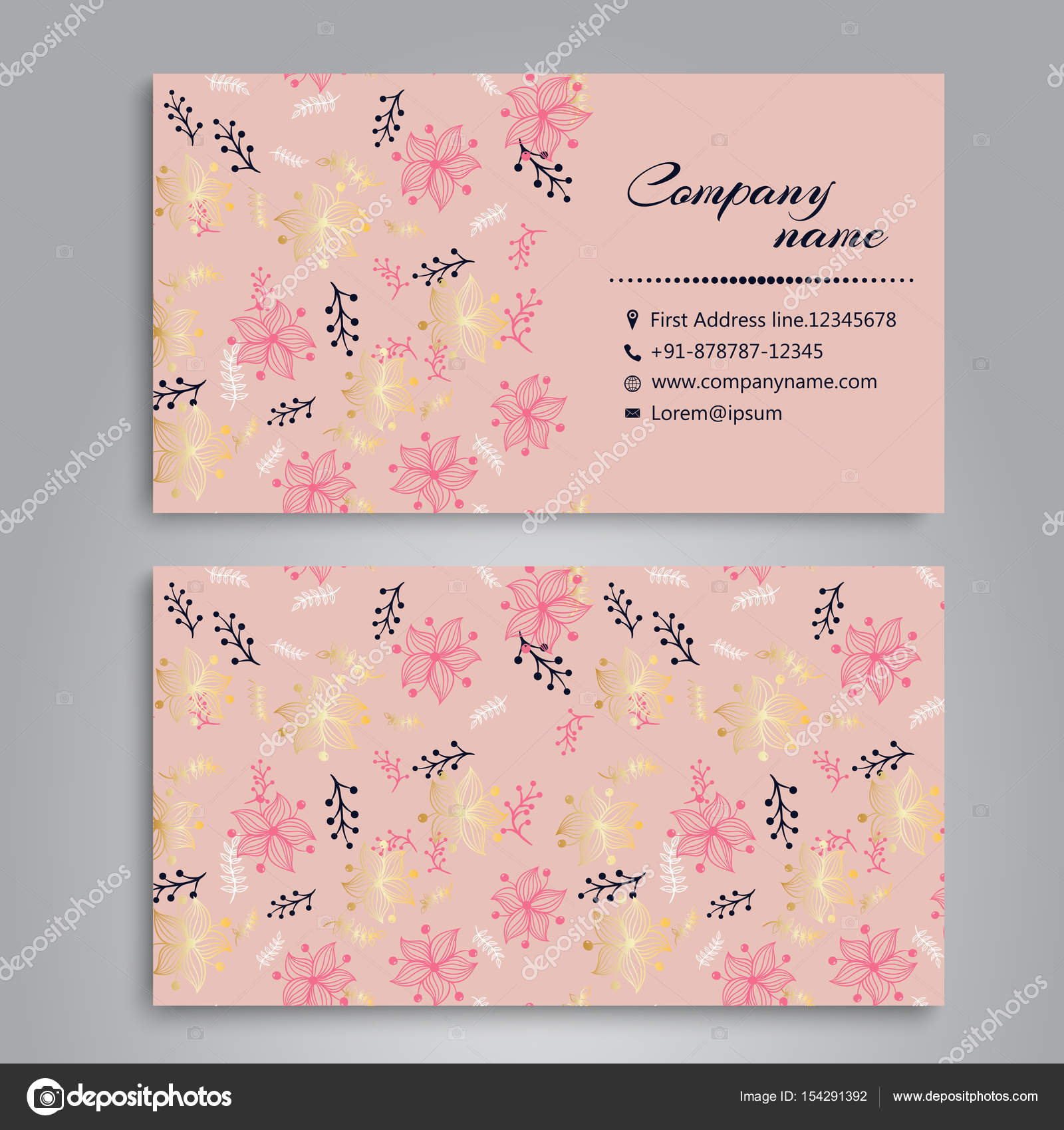 Floral business card template stock vector doodleflower 154291392 floral business card template stock vector cheaphphosting Gallery