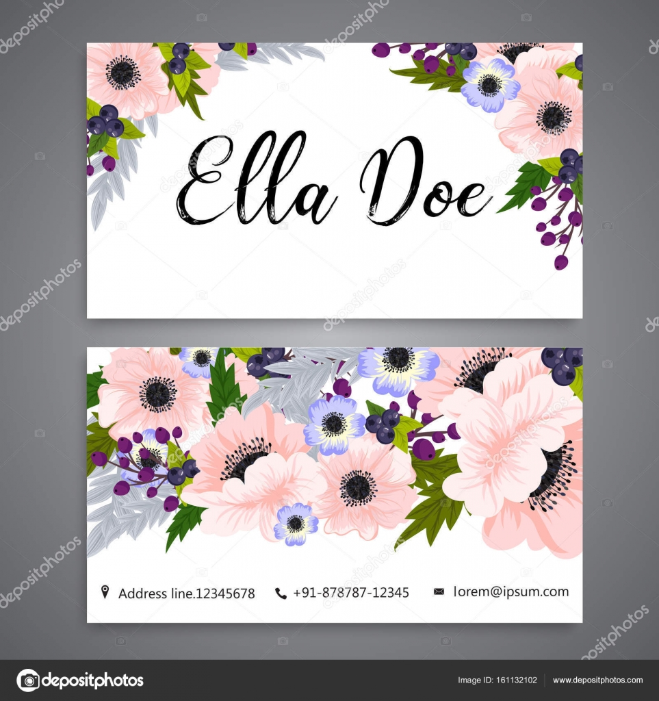 Floral business card template vector stock vector doodleflower floral business card template vector stock vector accmission Choice Image