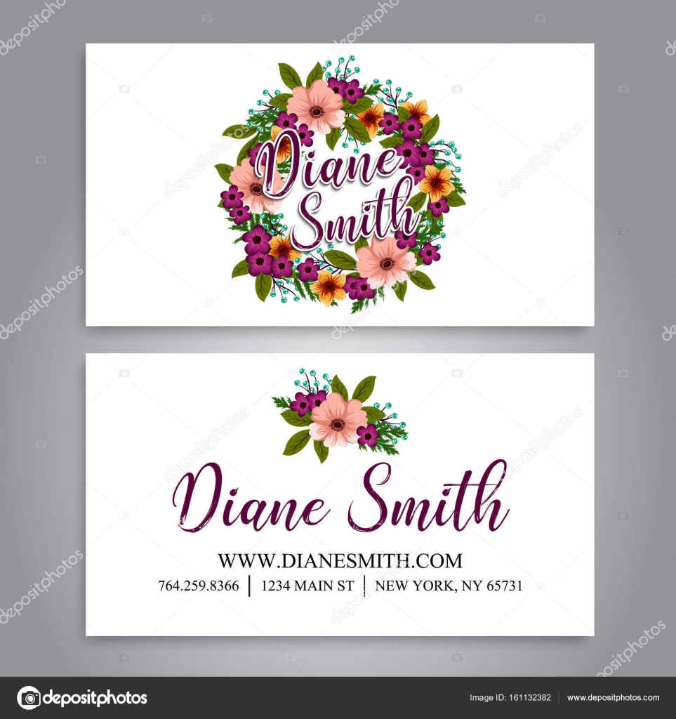 Floral business card template vector stock vector doodleflower floral business card template vector stock vector flashek Images
