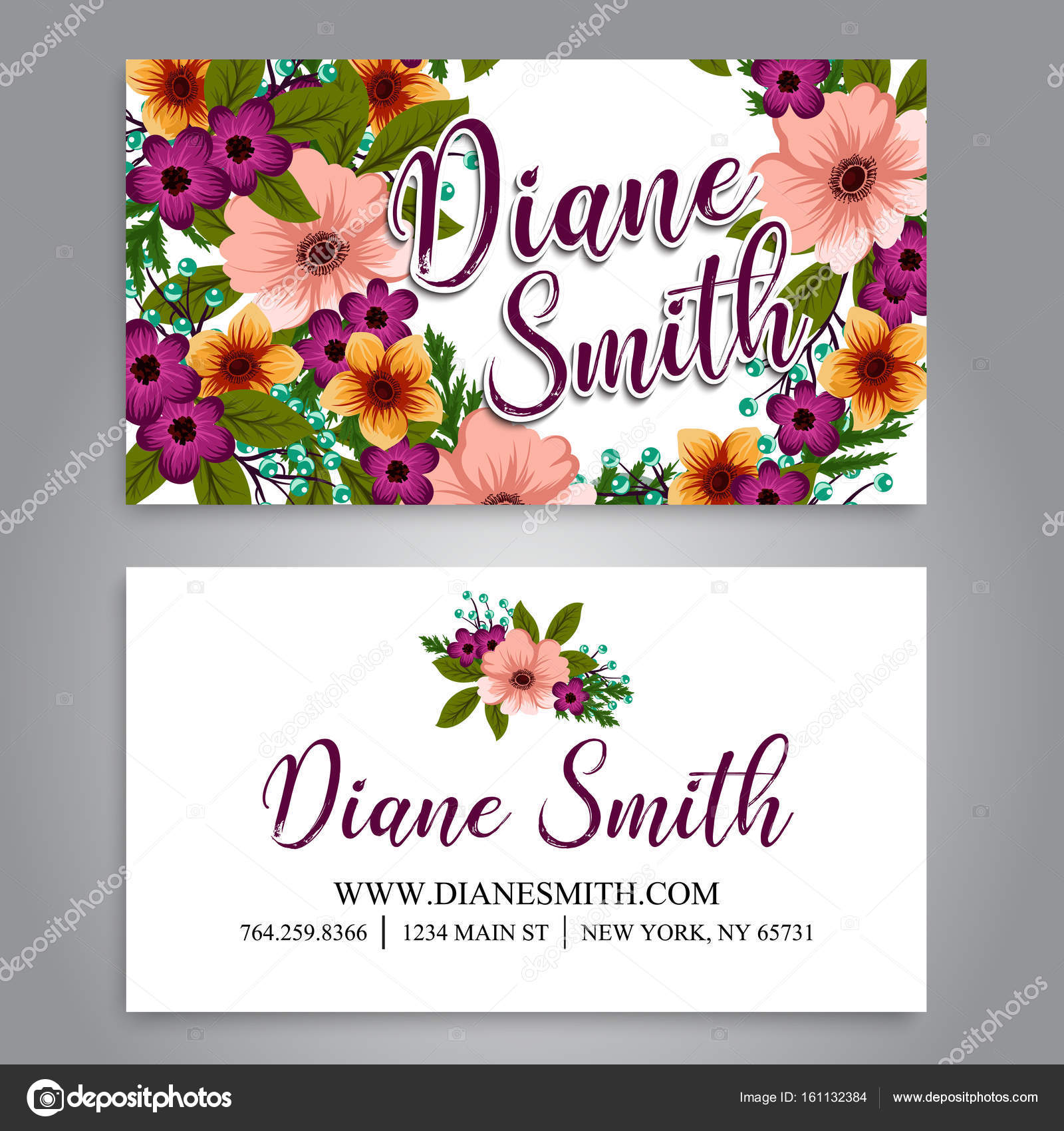 Floral business card template vector — Stock Vector © Doodle_flower ...