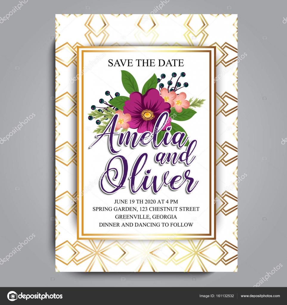 Hochzeit Blumen Einladungskarte Stockvektor C Doodle Flower 161132532