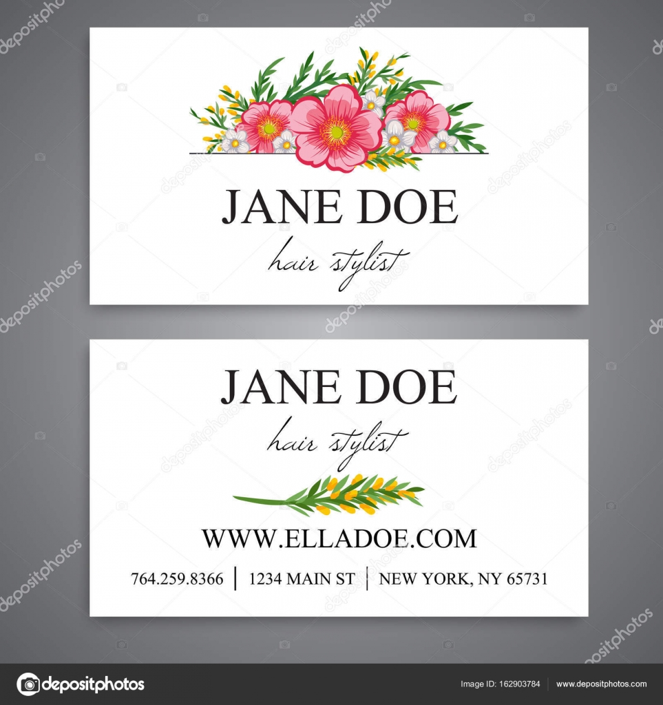 Floral business card template vector stock vector doodleflower floral business card template vector stock vector wajeb Image collections