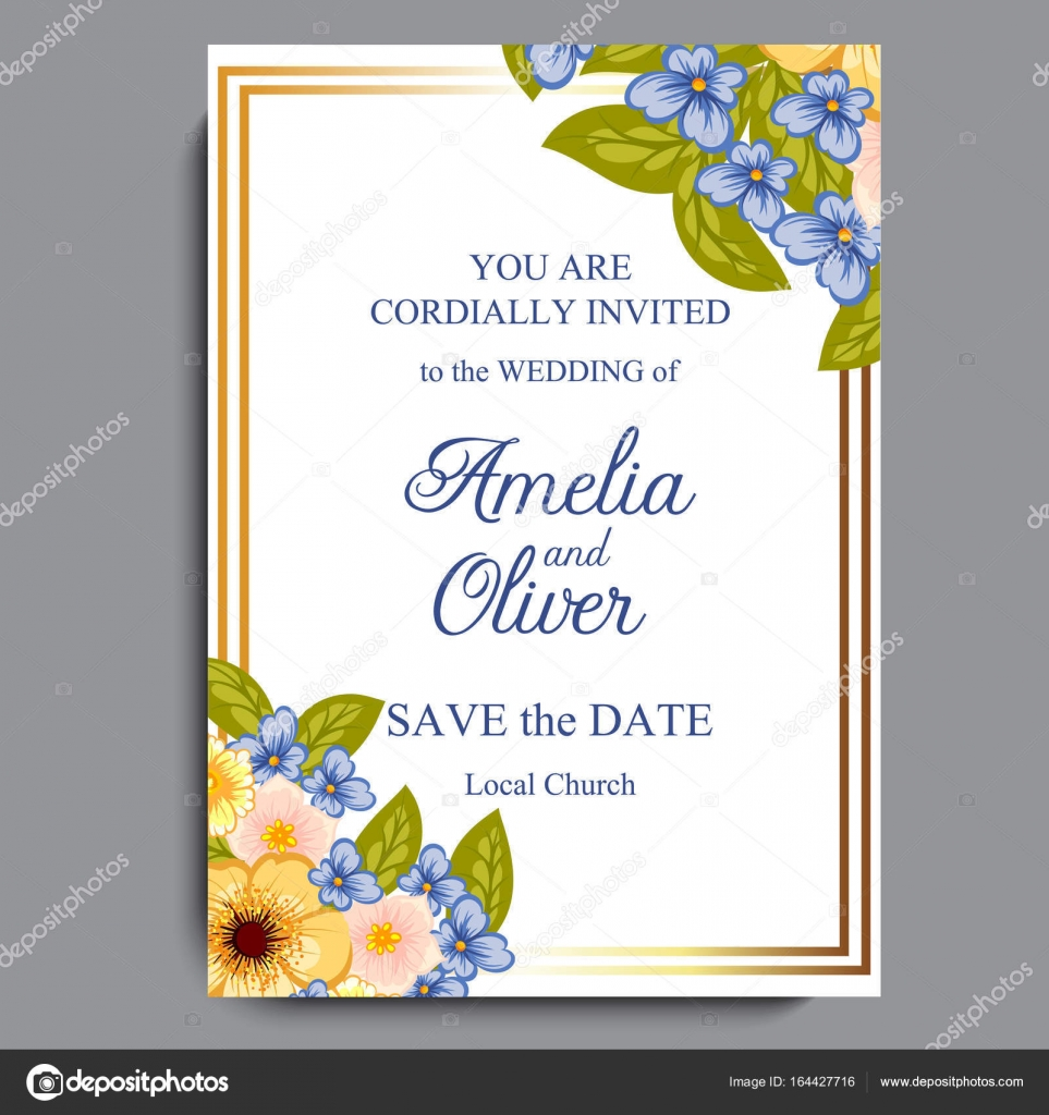 Hochzeit Einladung Karte Suite Mit Blumen Vorlage Vektor